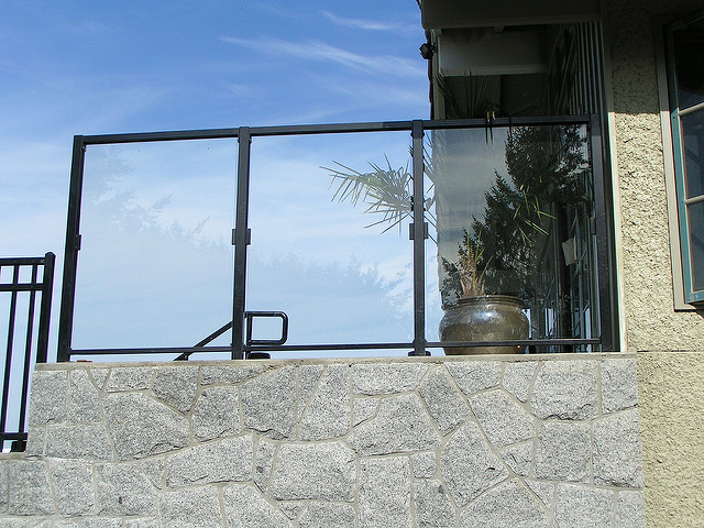 outdoor framed glass railing