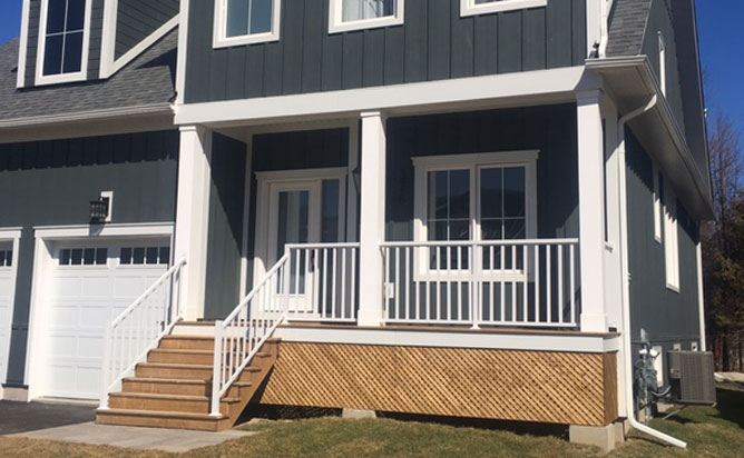 wide picket railing outdoors