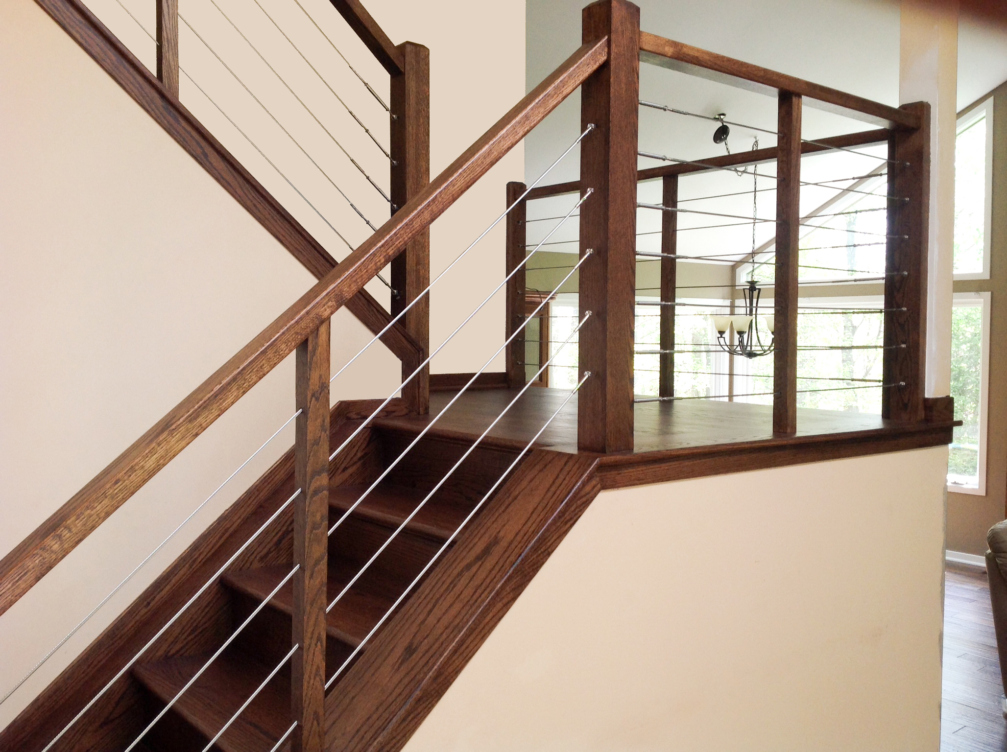 Interior cable railing on staircase